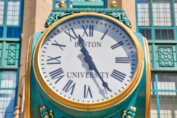 Boston University Campus Entrance. BU offers bachelor and master degrees, and medical, business, and law degrees through 18 schools and colleges on two campuses stock photo