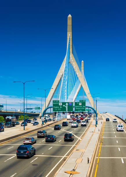 Boston, USA: Leonard P. Zakim Bunker Hill Memorial Bridge with traffic stock photo
