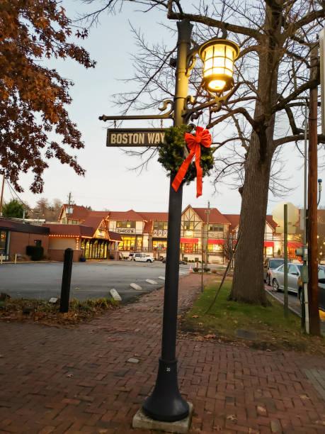 Boston Way lamp post stock photo