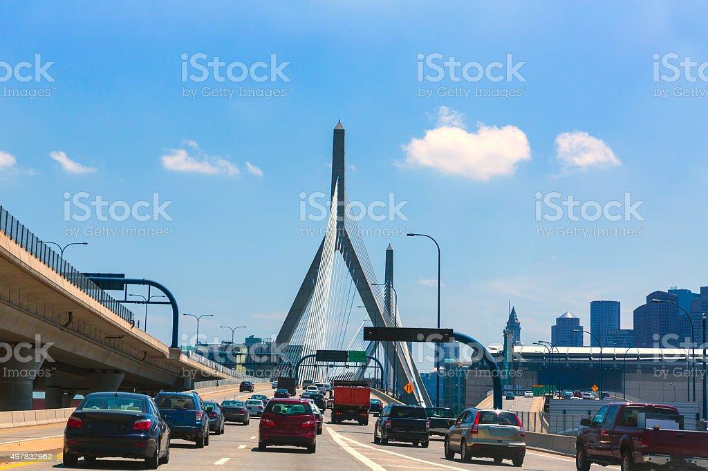 Boston Zakim bridge in Bunker Hill Massachusetts stock photo