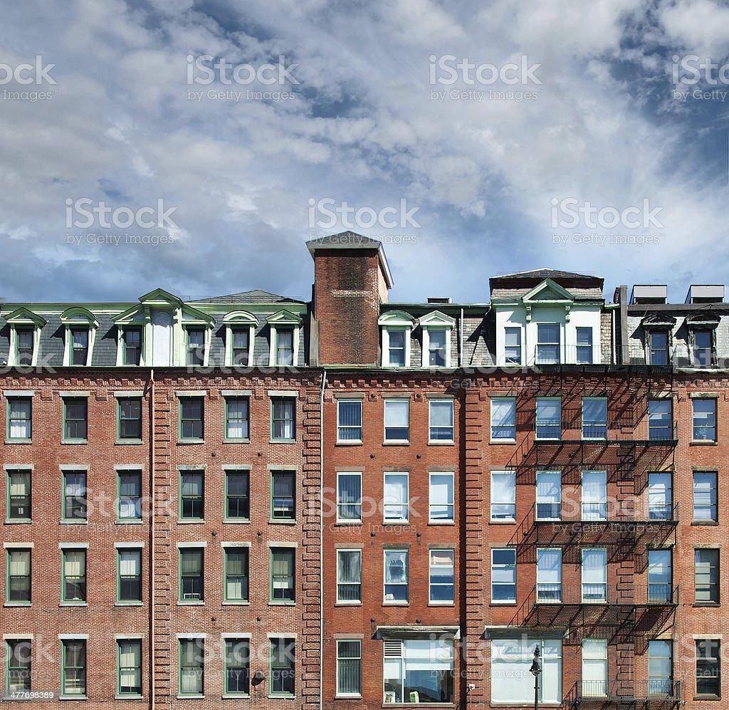 Bostone Brownstone Building with Fire Escape in Boston stock photo