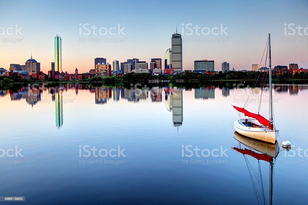Boston's Back Bay along the Charles River stock photo