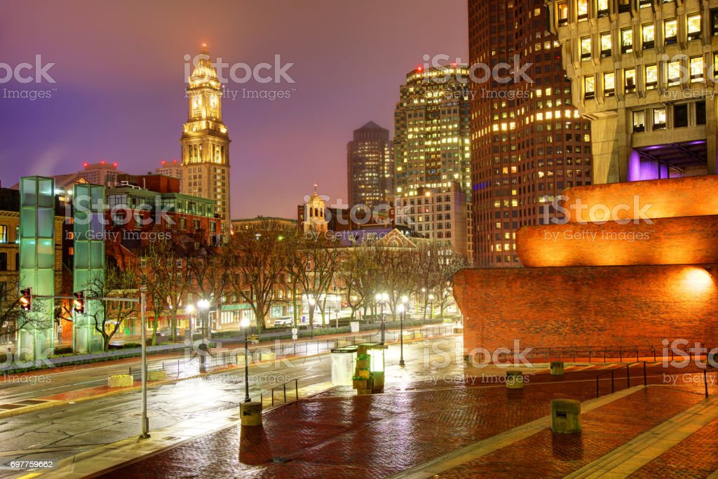 Boston's Custom House Tower and Faneuil Hall stock photo