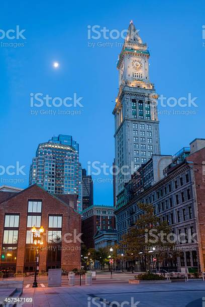 Bostons Historic Custom House Clock Tower With Full Moon Stock Photo Download Image Now Istock