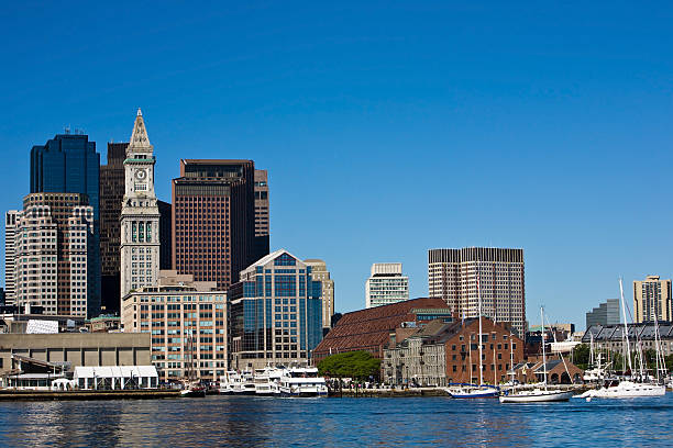Boston's Long Wharf and skyline stock photo