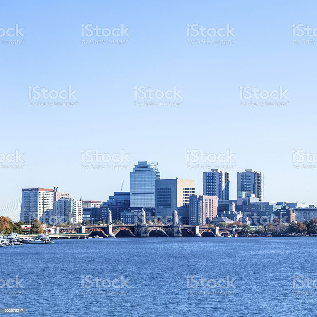 Boston's North End Skyline and the Longfellow Bridge royalty-free stock photo
