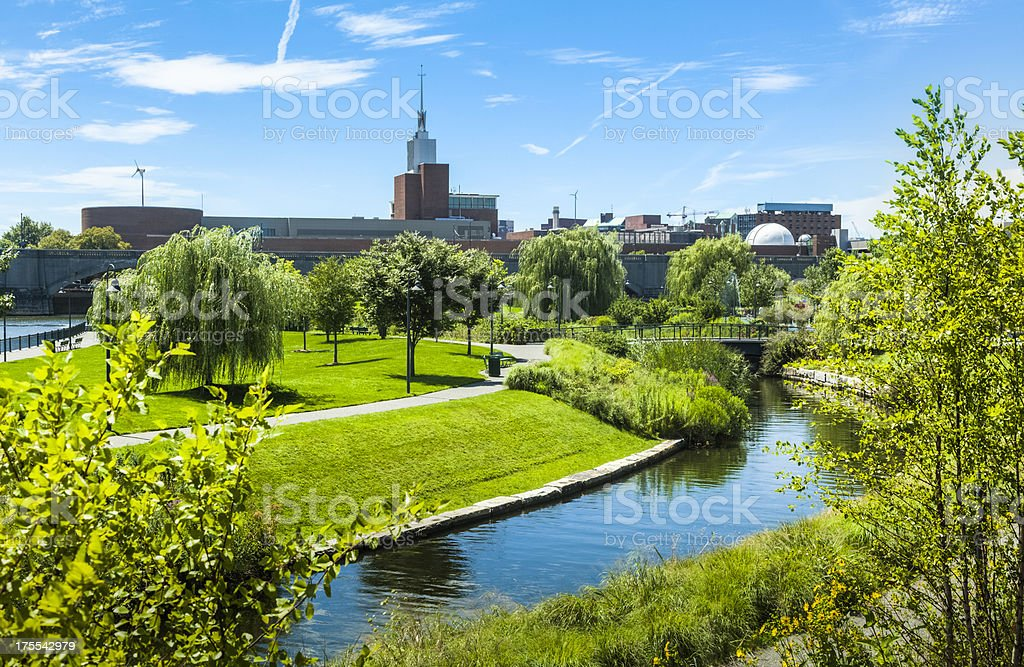 Boston's NorthPoint Park and Boston Museum of Science stock photo
