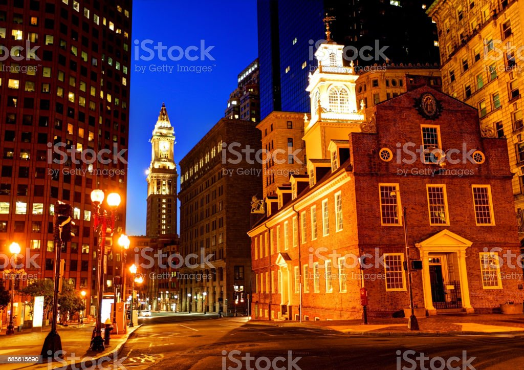 Boston's Old State House and Custom House Tower stock photo
