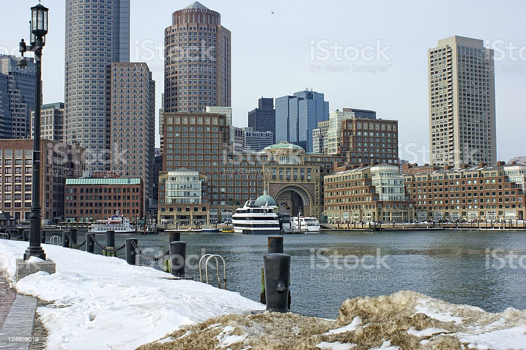 bostons Rowes wharf with ships in winter royalty-free stock photo