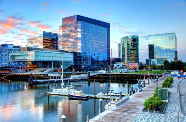 Boston's Seaport District stock photo
