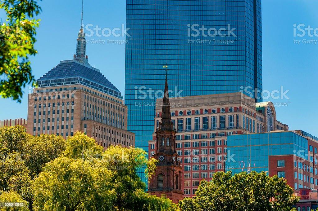 Boston's Skyline view from Public Gardens stock photo