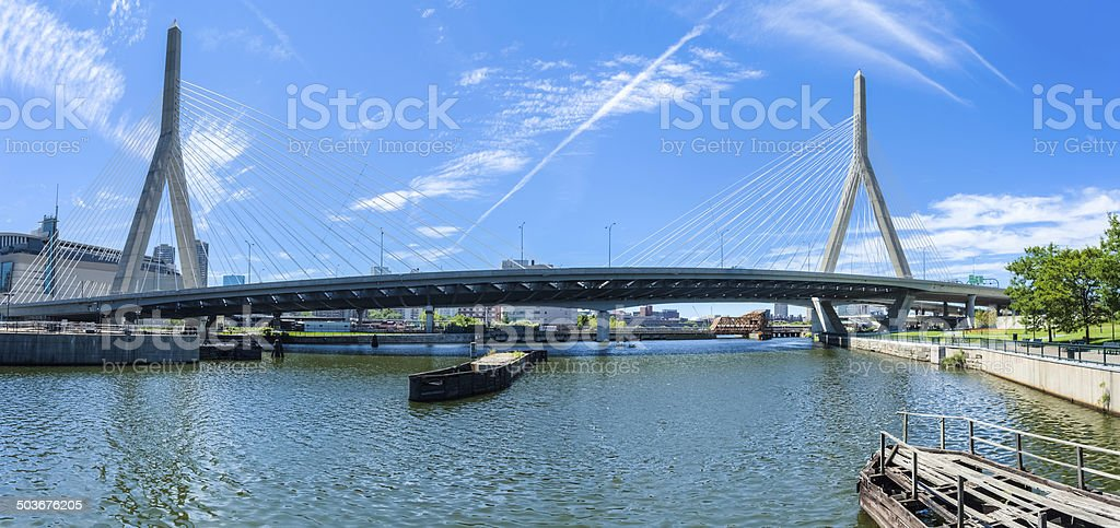 Boston's Zakim Bridge on a Clear Day Panorama royalty-free stock photo