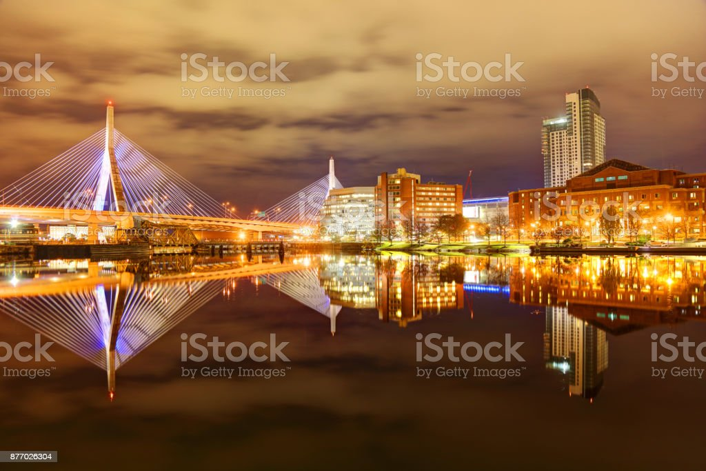 Boston's Zakim Bridge reflection on the Charles River stock photo