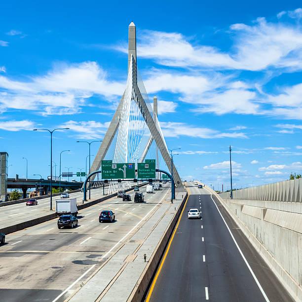 Boston's Zakim Bunker Hill Bridge - Eight Lanes Plus Two stock photo