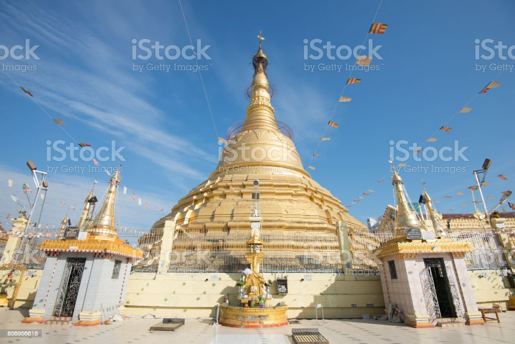botahtaung pagoda  is a famous pagoda located in downtown Yangon, Myanmar, near the Yangon river. The pagoda was first built by the Mon around the same time as was Shwedagon Pagoda stock photo