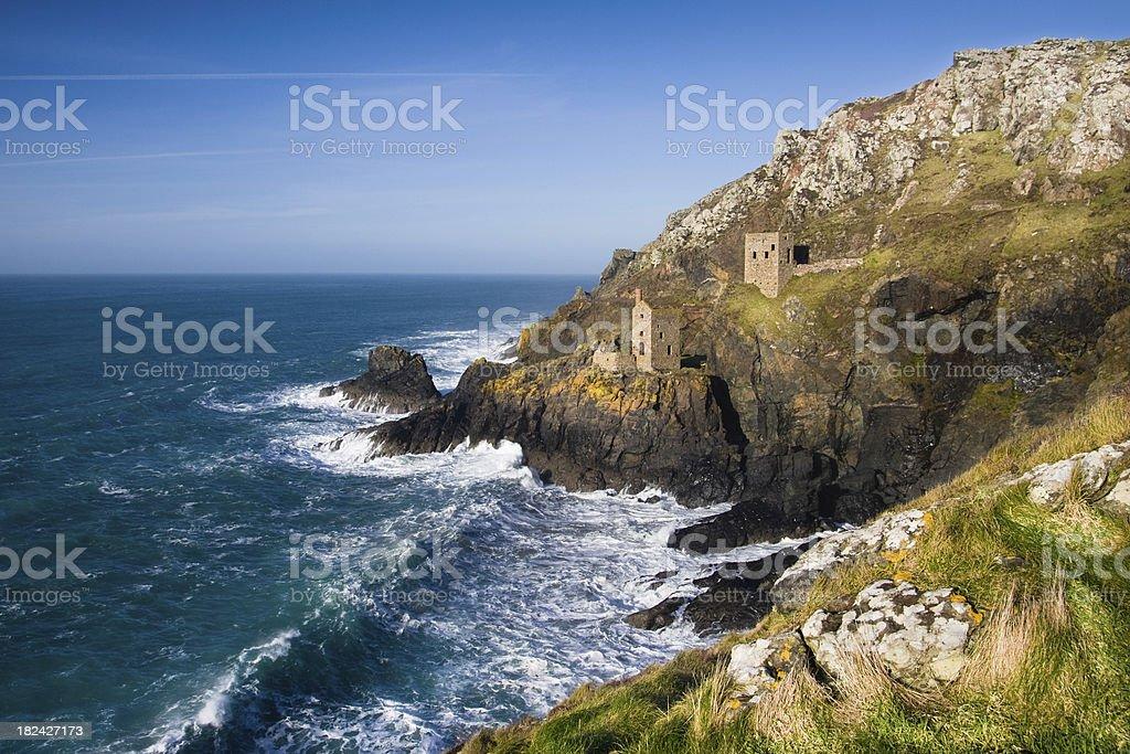 Botallack coastal tin mine engine houses in West Cornwall stock photo
