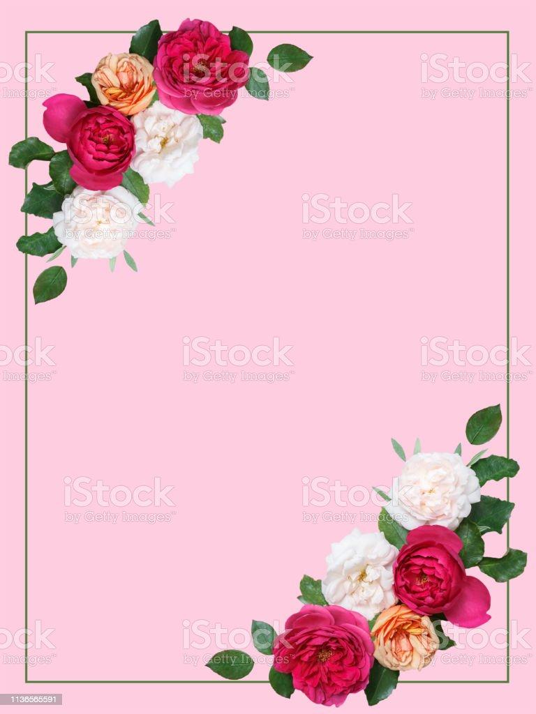 Botanische kaart met wilde bloemen, bladeren. Spring ornament concept. foto