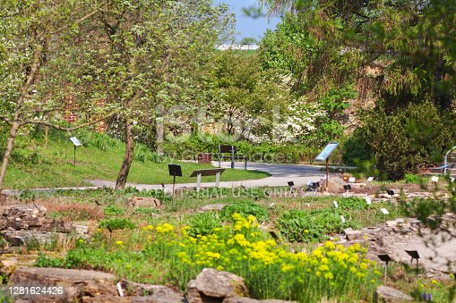 Botanic garden of University Osnabrueck in spring season. Garden is admission free access and public