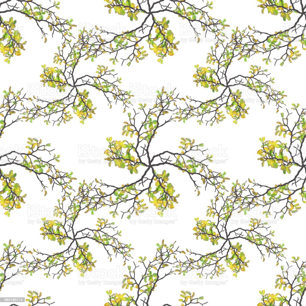 Botanic Motif Nature Print Seamless Pattern foto stock royalty-free