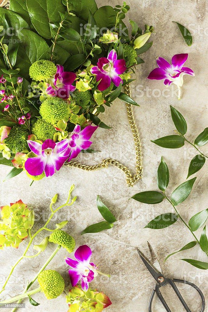 Botanical Couture. Wedding Handbag Of Fresh Flowers royalty-free stock photo