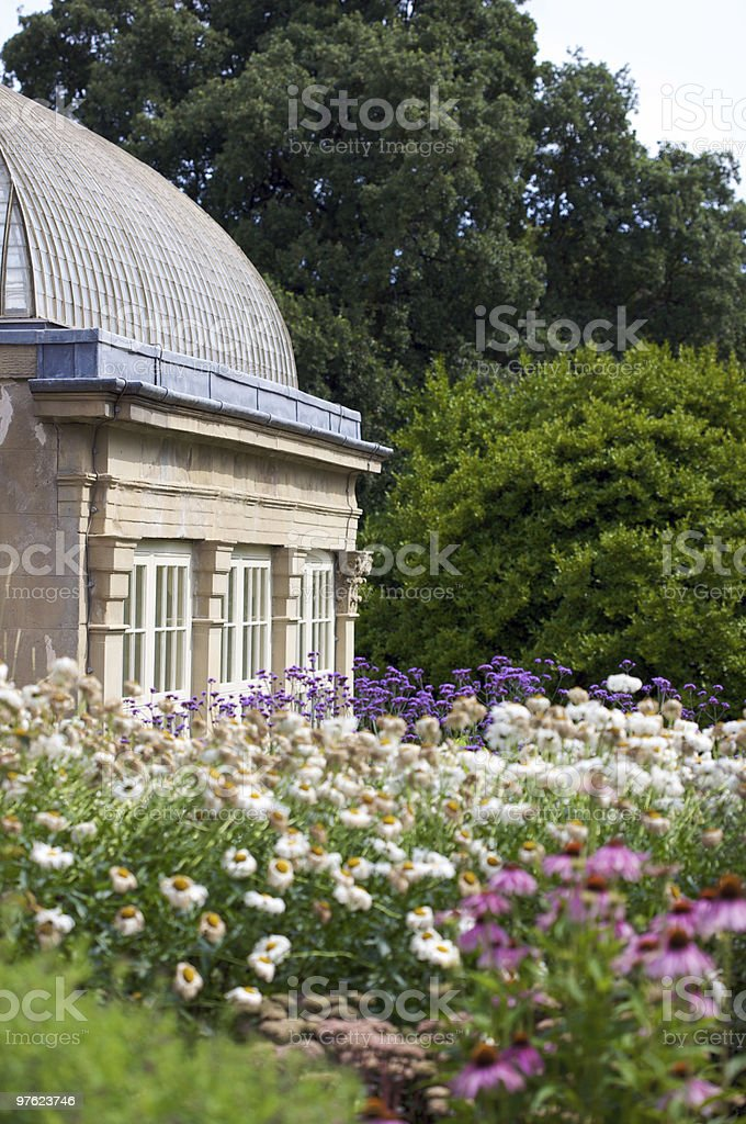 Botanical Garden and old Conservatory stock photo
