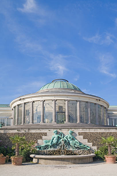 Botanical garden greenhouse in Brussels stock photo