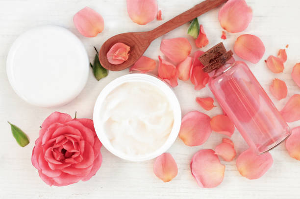 Botanical Rose Skincare Cosmetics stock photo