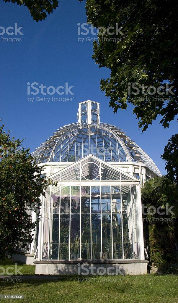 Botanics Glasshouse Elaborate greenhouse in Geneva's botanic Gardens Antique Stock Photo