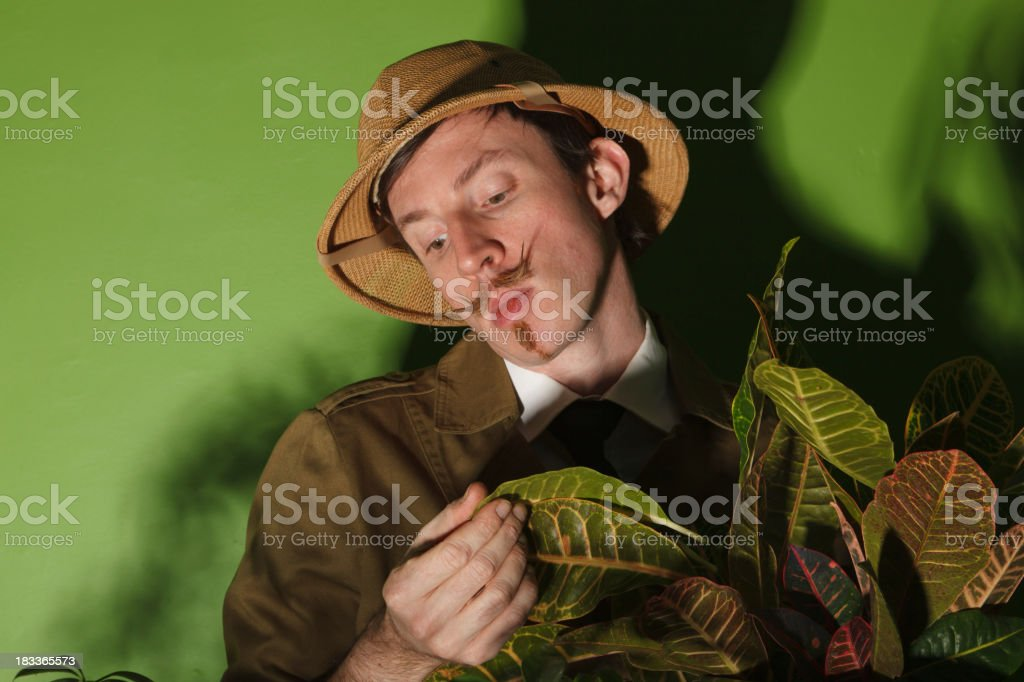 Botanist Examining a new Species of plant stock photo