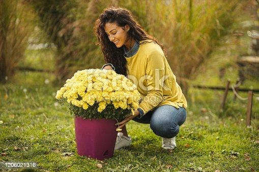 Botanist working in flower garden