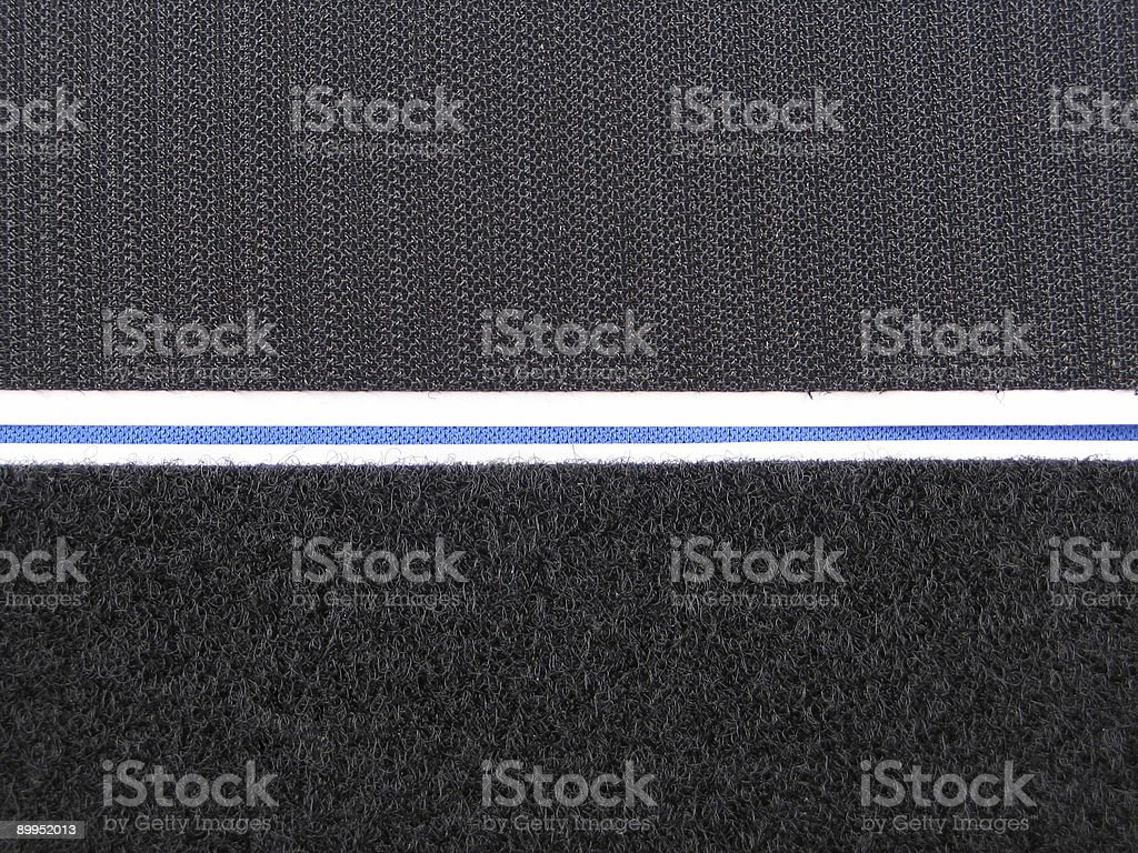 Both parts of a black velcro strip side by side stock photo