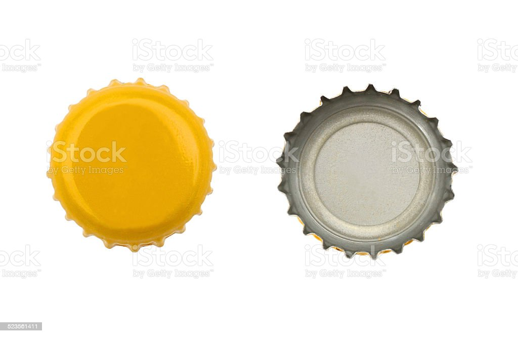 Both sides of beer cap stock photo