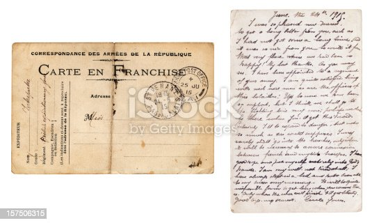 An old postcard sent from France in 1915, from a French interpreter assigned to a British regiment to his girlfriend in England. She did not marry him but married another man in 1916. So did the Frenchman die in the trenches...?