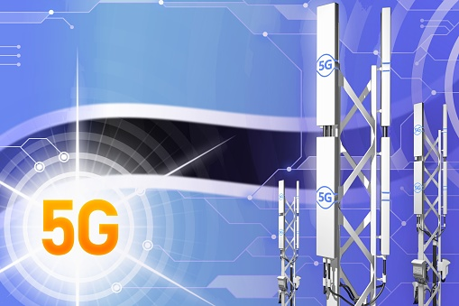 istock Botswana 5G industrial illustration, big cellular network mast or tower on hi-tech background with the flag - 3D Illustration 1144339498