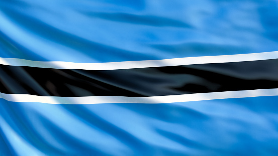 istock Botswana flag. Waving flag of Botswana 3d illustration. Gaborone 1088954832