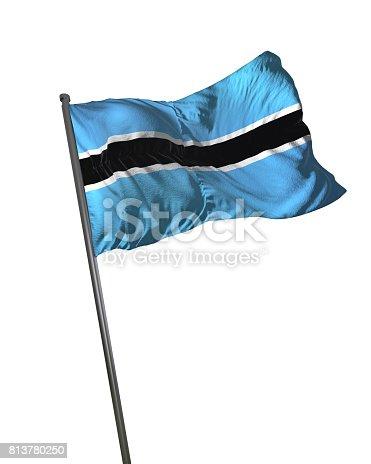 istock Botswana Flag Waving Isolated on White Background Portrait 813780250