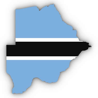 istock Botswana Map Outline with Botswanan Flag on White with Shadows 3D Illustration 808017410