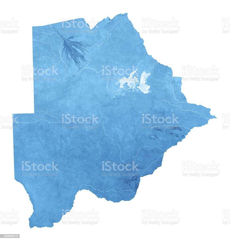 Botswana Topographic Map Isolated royalty-free stock photo