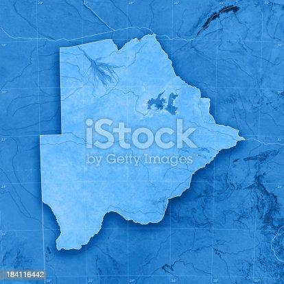 istock Botswana Topographic Map 184116442