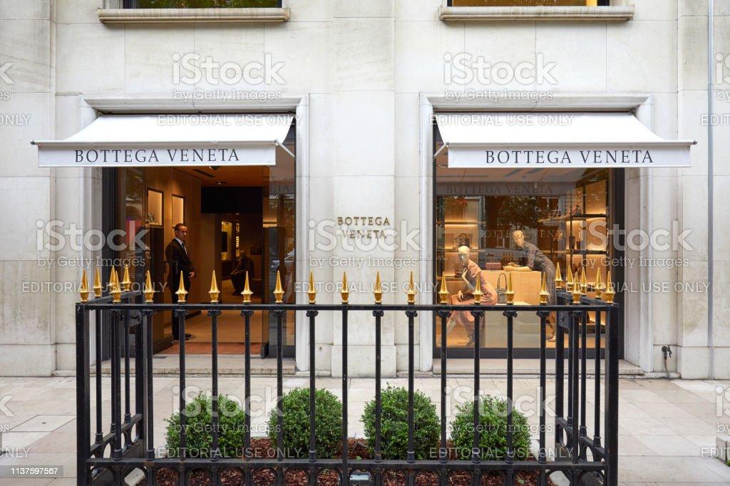 Bottega Veneta fashion luxury store in avenue Montaigne in Paris,...