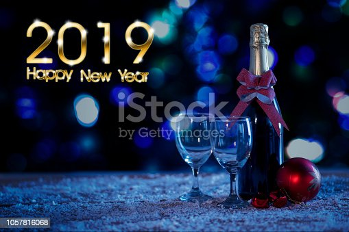 istock Bottle and ball with 2019 Happy New Year text 1057816068
