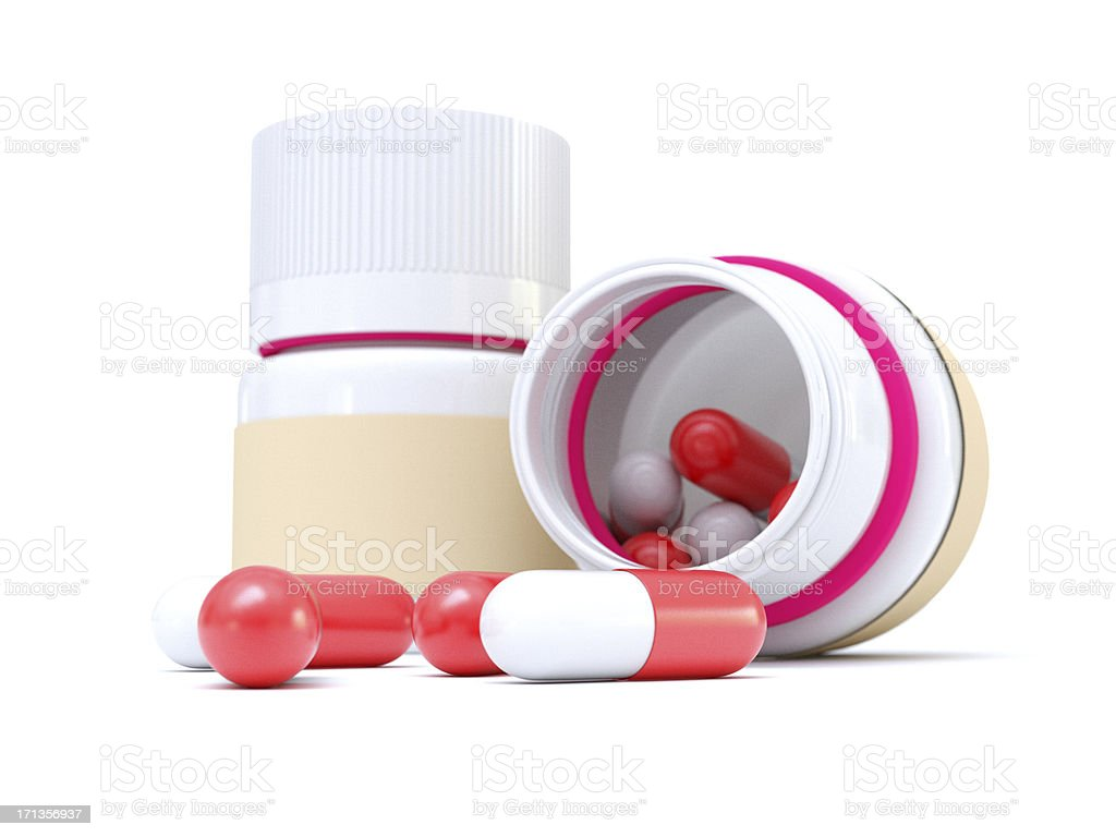 Bottle and Capsules stock photo