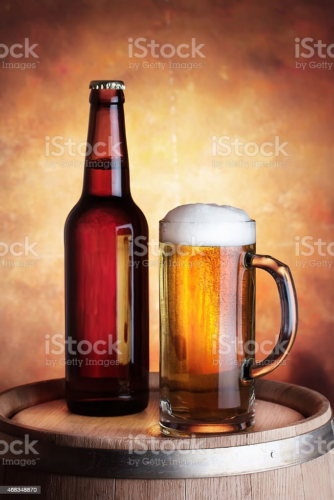 Bottle and glass of beer royalty-free stock photo