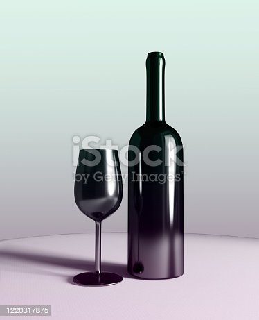 924487256 istock photo bottle and glass of red wine on table, 3d illustration 1220317875