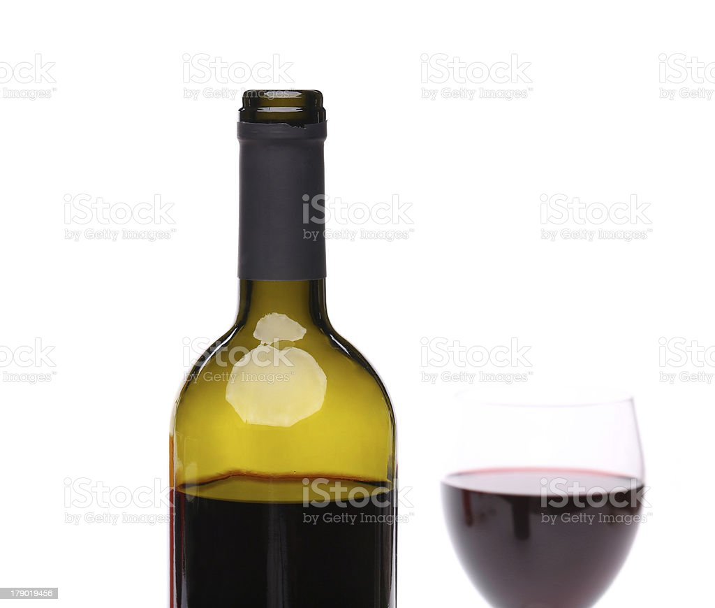 bottle and glass of red wine. royalty-free stock photo