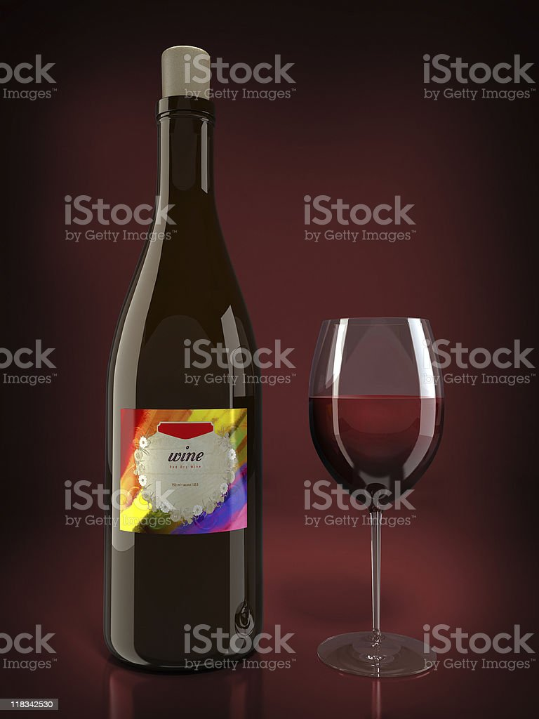 Bottle and glass of wine stock photo