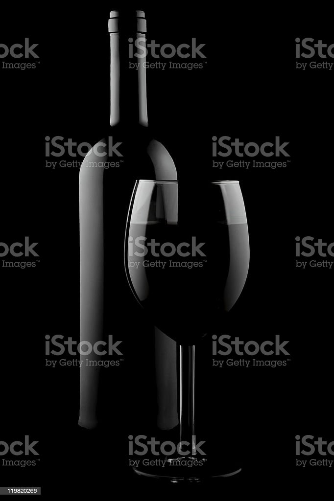 Bottle and glass of wine royalty-free stock photo