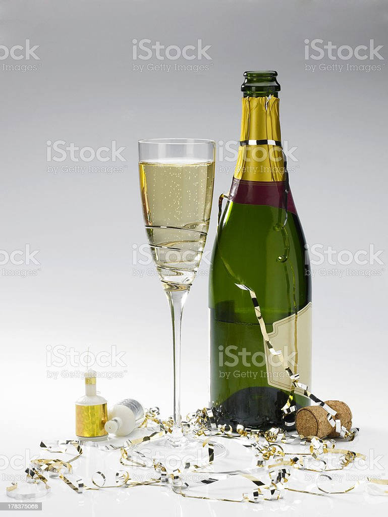 bottle and glass stock photo