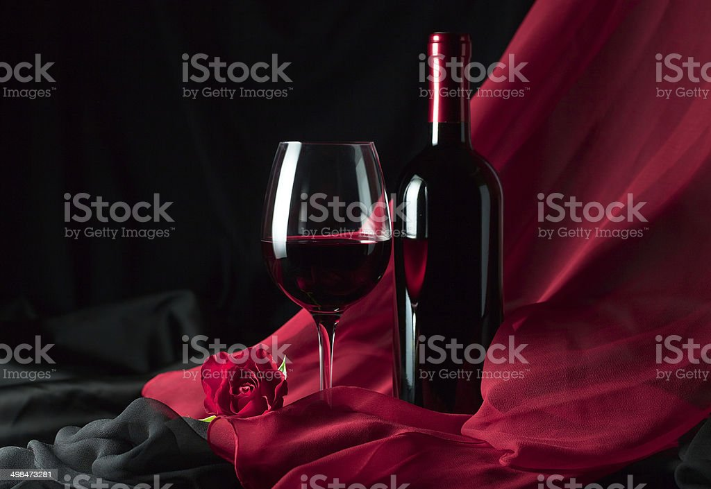 bottle and glass with red royalty-free stock photo