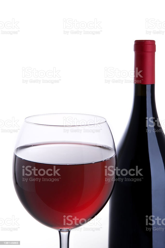 bottle and glass with red wine royalty-free stock photo